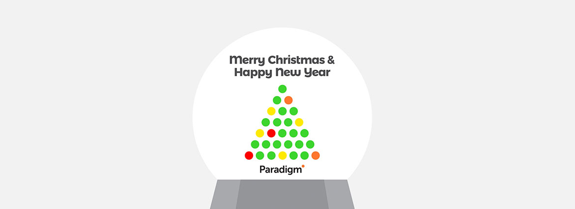 "News banner of ""Season's Greetings from Paradigm"""
