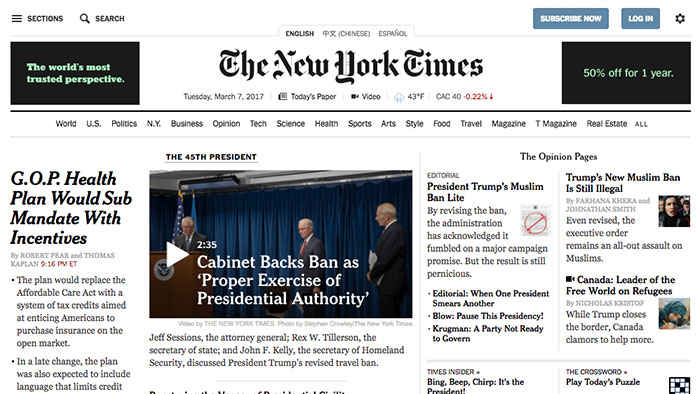 The image of The New York Times