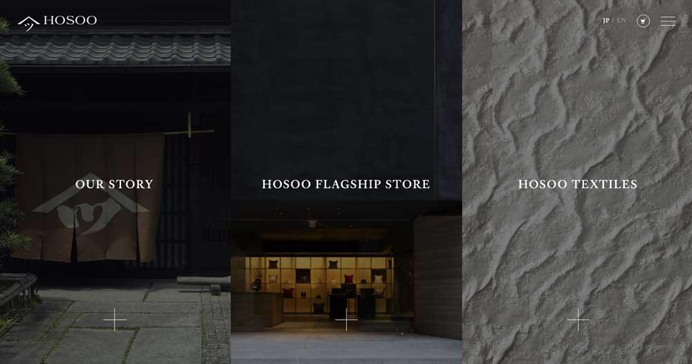 HOSOO website with simple language selector